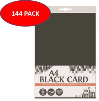 144 Sheet (24 x 6 Pack) A4 Black Cardboard 250gsm - Thick - Acid Free - Wholesale Bulk Lot Deals