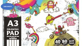 1000 Sheets (25 X 40 Sheets) A3 Creative Drawing Sketch Pad - 80gsm - Acid free - Wholesale Bulk Lot Deals