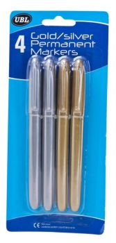 96 Pack (24 x 4 Pack) Permanent Marker - 2 Gold & 2 Silver - Wholesale Bulk Lot Deals
