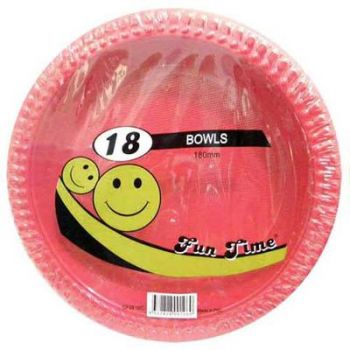 108 Pack - 6 x 18 Pack Red Plastic Disposable Bowls 180mm