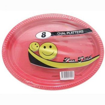 48 Pack - 6 x 8 Pack Red Plastic Disposable Oval Plate 300 x 230mm - Super Value!