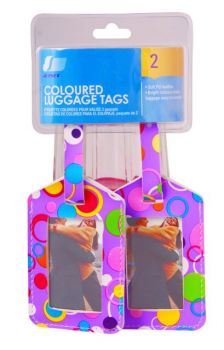 48 Pack (24 x 2 Pack) Luggage Fashion Coloured Tags - 4 Assorted Designs - Wholesale Bulk Lot Deals