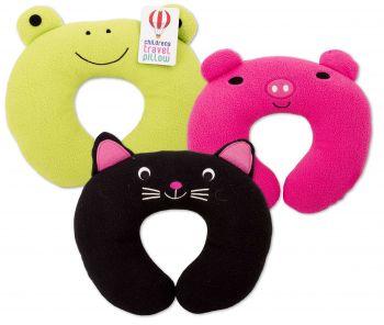 12 x Travel Neck Cushion 30x30cm For Kids - Assorted Designs - Wholesale Bulk Lot Deals