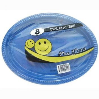 48 Pack - 6 x 8 Pack Royal Blue Plastic Disposable Oval Plate 300 x 230mm - Super Value!