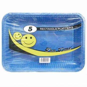 30 Pack - 6 x 5 Pack Royal Blue Plastic Disposable Rectangle Platter 300 x 215mm - Super Value!