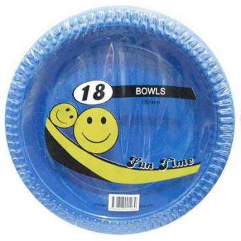 108 Pack - 6 x 18 Pack Royal Blue  Plastic Disposable Bowls 180mm