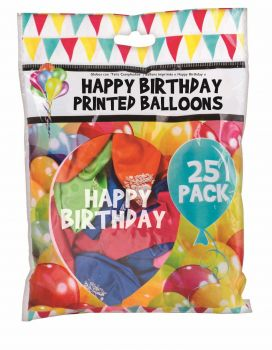 600 balloons (24 x 25 Pack) Happy Birthday Printed Balloons - Mix colours - Wholesale Bulk Lot Deals