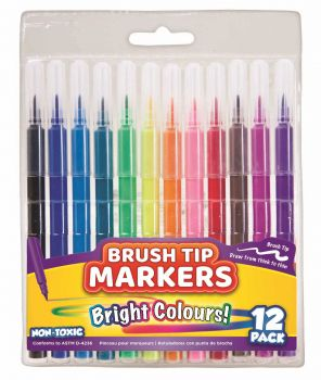 288 Pack (24 x 12 Pack) Brush Tip Markers Mix Colours - Wholesale Bulk Lot Deal