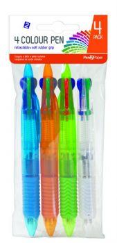 100 Pack (25 x 4 Pack) 4 Colour Retractable Ballpoint Click Pen - Wholesale Bulk Lot Deals