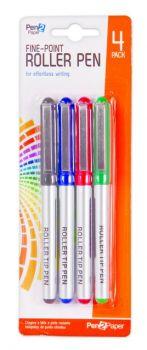 96 Pack (24 x 4 Pack) Fine Point Roller Pen 0.5mm - Wholesale Bulk lot Deals