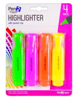 96 Pack (24 x 4 Pack) Highlighters with clip - Mix Colours - Wholesale Bulk Lot Deals