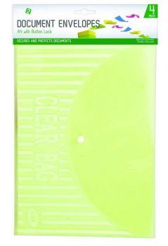 80 Pack (20 x 4 Pack) A4 Document Holder with Clip / Button - Assorted Colours - Wholesale Bulk Lot Deals