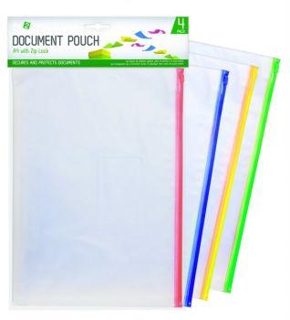 96 Pack (24 x 4 Pack) A4 Document Pouch zipper - Wholesale Bulk Lot Deals