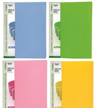 25 x A4 Display Folder with 20 Pockets - 4 Assorted Colours - Wholesale Bulk Lot Deals