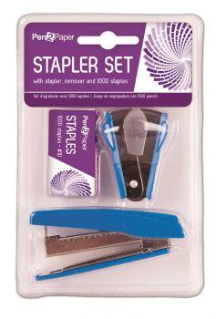 24 x 3 Piece Stapler Set Stapler Staples & Staple Remover - Black, Blue & Red - Wholesale Bulk Lot Deal