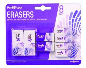 196 Piece (24 x 8 Pack) White Eraser Set - 3 Assorted Sizes - Super Value Pack - Wholesale Bulk Lot Deals