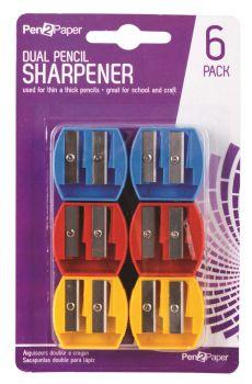 144 Pack (24 x 6 Pack) Double Pencil Sharpener - Assorted Colours - Wholesale Bulk Lot Deals