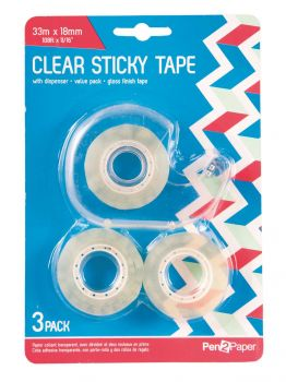 72 Pack (24 x 3 Pack) Clear Sticky Tape with Dispenser - Wholesale Bulk Lot Deal