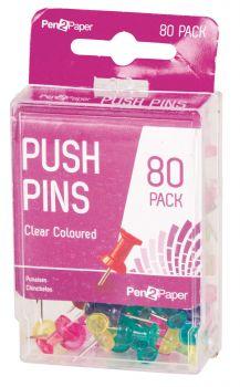1920 Pack (24 x 80 Pack) Push Pins Clear Coloured - Wholesale Bulk Lot Deals