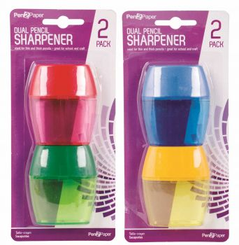 48 Pack (24 x 2 Pack) Dual Pencil Sharpener - Assorted Colours - Wholesale Bulk Lot Deals