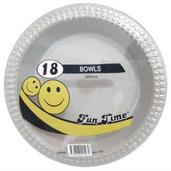 108 Pack - 6 x 18 Pack Silver / Grey Plastic Disposable Bowls 180mm