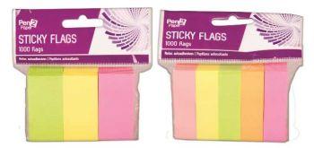36000 Pieces (36 x 1000 Pack) Fluorescent Stick on Flags - 3 Mix Colours - Assorted - Wholesale Bulk Lot Deals
