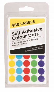 11520 Piece (24 x 480 Pack) Adhesive Colour Dots - Wholesale Bulk Lot Deal