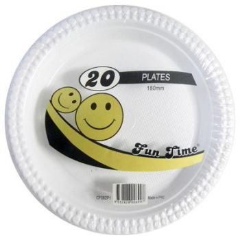 120 Pack - 6 x 20 Pack White Plastic Snack Plate 180mm