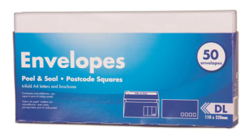 600 Pack (12 x 50 Pack) Peel & Seal DL Envelope 110 x 220mm - Wholesale Bulk Lot Deal