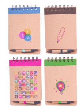 24 x Magnetic Kraft Spiral Notebook with Magnet & Pen 60 Sheets - Assorted Designs - Wholesale Bulk Lot Deal
