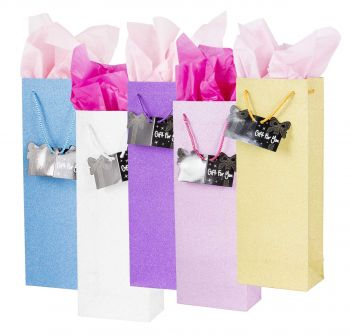24 x Glitter Bottle Gift Bag - Assorted Colours - Wholesale Bulk Lot Deals