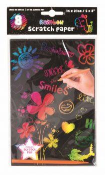 288 Sheets (36 x 8 Pack) Scratching Art Set 14 x 21cm with Scratch Pen - Wholesale Bulk Lot Deals