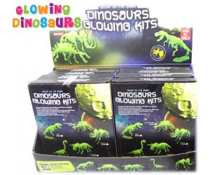10 x Glow in the dark Dinosaurs 3D Skeleton - Assorted in Display Box - TOY - Wholesale Bulk Lot Deal