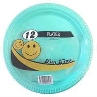 72 Pack - 6 x 12 Pack Turquoise Plastic Disposable Dinner Plate 230mm - Wholesale lots!