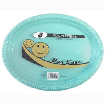 48 Pack - 6 x 8 Pack Turquoise Plastic Disposable Oval Plate 300 x 230mm - Super Value!