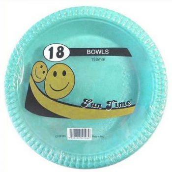 108 Pack - 6 x 18 Pack Turquoise Plastic Disposable Bowls 180mm