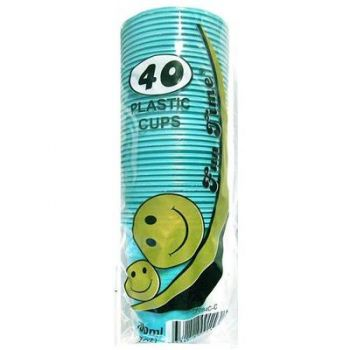240 Pack - 6 x 40 Pack Turquoise Cups Plastic Tumbler Glass 200mL - Super Value!