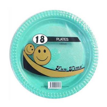 108 Pack - 6 x 18 Pack Turquoise Plastic Snack Plate 180mm - Super Value!