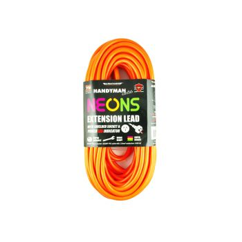 Ultracharge Bright Neon Colours Extension Lead 20M - 10 Amp - Assorted colours 240v Electric Power Connection