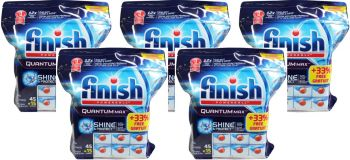 300 Pack - 5 x (45 + 15) Pack Finish Quantum Max Powerball Dishwashing Tablets - Shine & Protect - Wholesale Bulk lot Deals  - Save more