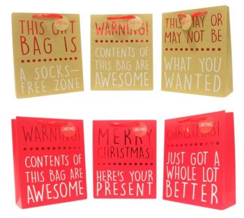 36 x CHRISTMAS FOIL RED GIFT BAG WITH WRITINGS - MEDIUM - 12 ASSORTED - XMAS ITEMS - WHOLESALE BULK LOT DEAL