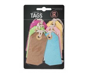 288 Piece (24 x 12 Pack) Party Colour Kraft Tags 12 Pack - wedding party Label card - Wholesale Bulk Lot Deals