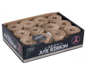 24 X JUTE RIBBON 2M X 6CM - IN A DISPLAY BOX - Wholesale Bulk Lot Deal