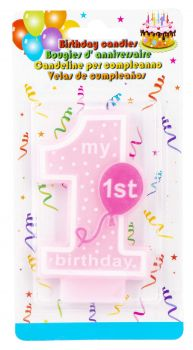 24 x My 1st Birthday Candle Pink - Wholesale Bulk Lot Deals