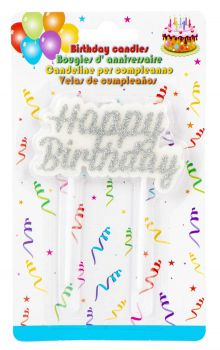 24 x Happy Birthday Silver Plaque Candle - Wholesale Bulk Lot Deals