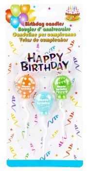 96 Pack (24 x 4 Pack) Colour Balloon Birthday Candle - Wholesale Bulk Lot Deals