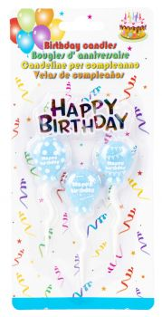 96 Pack (24 x 4 Pack) Baby Blue Balloon Birthday Candle - Wholesale Bulk Lot Deals