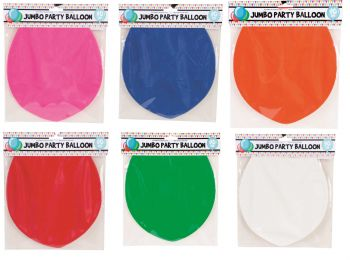 18 x Jumbo Solid Colour Balloon 1 Pack - Assorted Colours - Wholesale Bulk Lot Deals