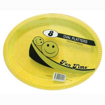 48 Pack - 6 x 8 Pack Yellow Plastic Disposable Oval Plate 300 x 230mm - Super Value!