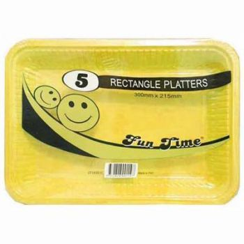 30 Pack - 6 x 5 Pack Yellow Plastic Disposable Rectangle Platter 300 x 215mm - Super Value!